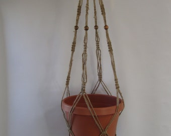 Macrame Plant Hanger Natural Jute Vintage Style 36 inch with BEADS