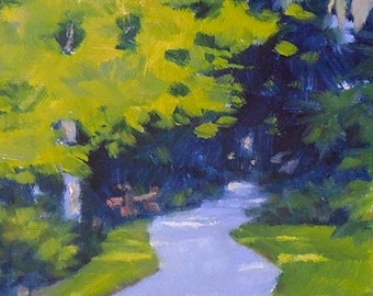 "Oil Painting, ""Down the Garden Path,"" Original Oil on Canvas, 6x6, Green and Purple Small Painting"