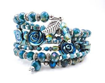 Blue beaded bracelet, memory wire bracelet, blue wrap bracelet, beaded coil bracelet, beaded wrap bracelet, blue bracelet, Hematite bracelet