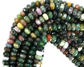 """10mm faceted indian agate rondelle beads 15"""" strand 39286"""