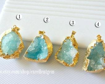Druzy Druzy pendant Geode pendant druzy gemstone pendant Gold plated Edge Druzy in Aquamarine blue color Jewelry making JSP-5888