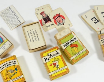 1935 Russell Big Little Card Games - Set of 4 - Vintage Card Games - Mini Card Games - Retro Children's Card Games - 1930s Card Games