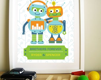Modern Robot Artwork for Children, Brothers Forever, 11X14, Other Sizes