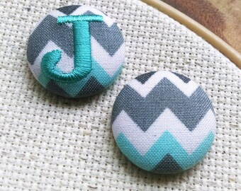 Monogram Needle Minder - Chevron Teal - 2 Piece Reversible Scout and Remy, Personalized, Initial, For Cross Stitch, Sewing, Embroidery