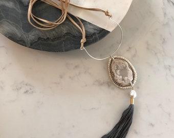 Druzy swing tassel necklace