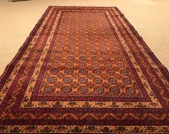 Persian Afghan Wool Rug Kilim from Afghanistan - Red, Black Multi-Colored - 37 in x 77 in