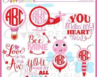 Valentine Clipart, Valentine Monograms, love clipart, Valentine Lettering, Hot Air Balloon Clipart, Helicopter Clipart, Instant Download