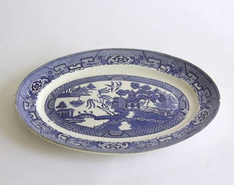 Vintage Blue Willow Serving Platter