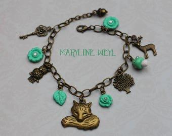 Mint Fox charm bracelet charm