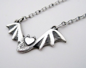 Tiny Bat Necklace, Sterling SIlver Flying Bat Love with Sterling Silver Chain