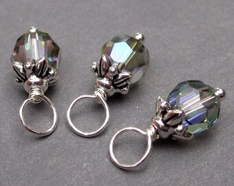 Crystal Paradise Shine Swarovski Crystal Charms, Crystal Dangles, Wine Charms, Stitch Markers, 6mm Swarovksi Crystal Beads