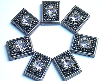 Seven 2 Hole Slider Beads 2 Hole Spacer Beads Antiqued Pewter Finish Dotted Rectangle 6mm Clear Crystals Textured Beads, Crystal Beads, Boho