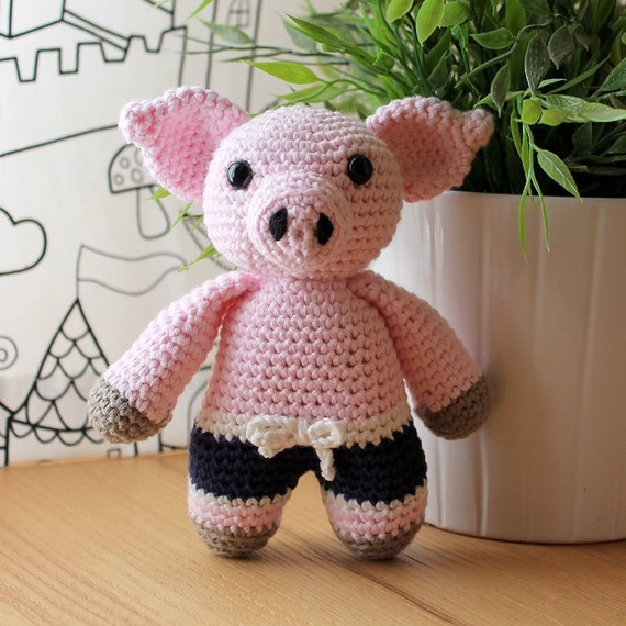 Piggy - Animalius. Amigurumi Pattern PDF, Pig Animal Toy, Nursery Doll, Crochet Pattern, Cute Children Gift, DIY, Crafts, Instant download