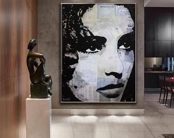 ELIZABETH TAYLOR Painting, Taylor Canvas, Liz Taylor Mixed Media ORIGINAL Painting by Kathleen Artist Ready To Hang Wall Art Modern Fine Art