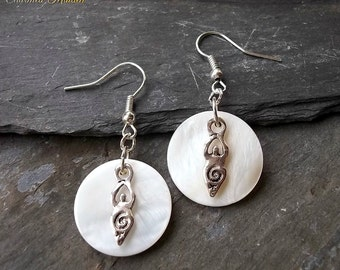 Moon Goddess Earrings, Pagan Goddess Earrings, Wiccan Earrings, Wicca Jewellery, Gaia, Mother of Pearl, Full Moon, Charm Drop Earrings