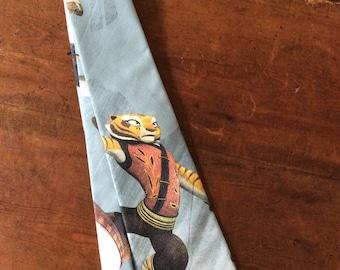 Tie Hand Made with Kung Fu Panda Cartoon- Legends of Awesomeness Fabric.