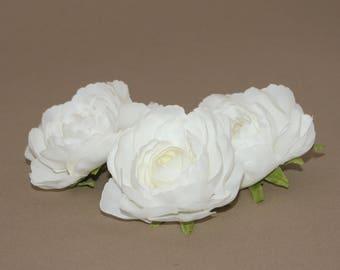 3 Soft White Ranunculus - Artificial Flower, Silk Flower, Bridal Flower