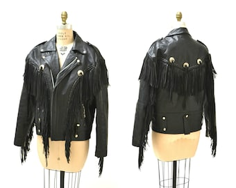 Vintage Black Leather Motorcycle Jacket with Fringe// Vintage Black Leather Jacket Biker Western Rocker Jacket Fringe Mens Large 46 LA Roxx
