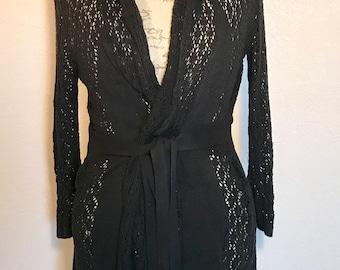 Vintage 90s Black Bohemian Sweater Wrap Style Peek-a-Boo Gypsy Sweater Sz M