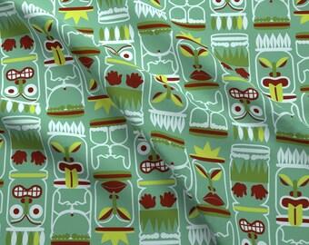 Green Tiki Faces Fabric - Tiki-Toki-Green By Happyhappymeowmeow - Green Hawaiian Tiki Beach Decor Cotton Fabric By The Yard With Spoonflower
