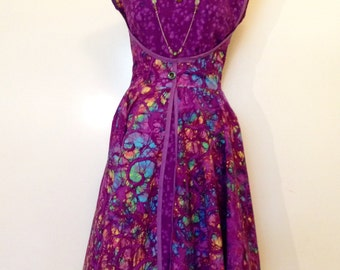 Purple Batik Retro Wrap Dress