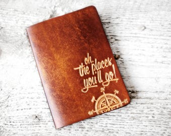 Personalized Leather Passport Cover, Travel Quote Travel Gift with Compass Design Passport Holder, Travel Quote, Travel Gift