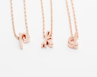 Rose Gold Initial Necklace, Rose Gold Necklace, Rose Gold Letter Necklace, Bridesmaid Necklace, Dainty Necklace, Monogram Necklace