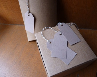 Set of 100 unstrung buff beige card brown price tags hang tags 2 x 1 inches