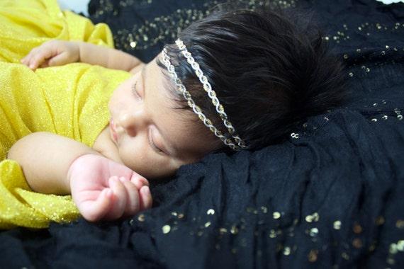 Two Strand Headband, Baby Headband, Gold Baby Headband, Gold Infant Headband, Gold Halo Headband, Gold Headband, Baby Gold Headband, Newborn