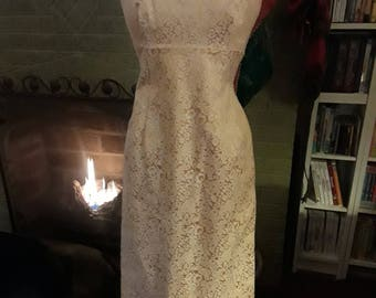 Gold, Brocade, Vintage, Evening Gown