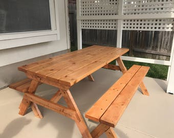 Handcrafted Outdoor Wooden Picnic Table Large - Local pick up / Delivery only