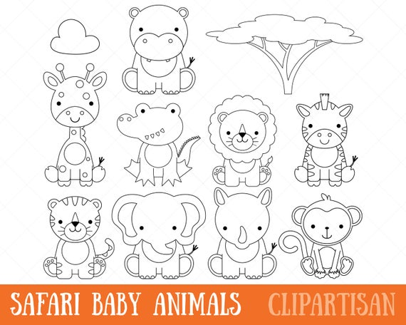 Clipart de animales bebé Safari digital sellos / página para