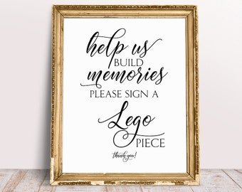 Help Us Build Memories, Please Sign A Lego Piece, Lego Sign, Lego Guestbook Sign, Lego Guest Book, Help Us Build Memories Sign, Printable