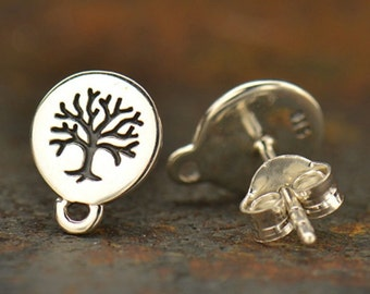 Sterling Silver Etched Tree of Life Post Earrings with Loop