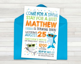 Shark Birthday Invitation, Shark Birthday Party, Shark Invitation, Shark Party, Shark Invitation, Birthday Invitations Shark - DIGITAL FILE