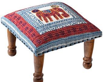 Handmade applique elephant footstool