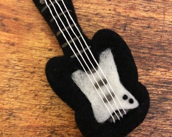Needle Felt Wool Organic Wool Felted Electric Guitar Newborn Photography Photo Prop Newborn Stuffy Wool Guitar Waldorf Montessori Stuffie
