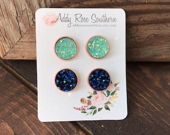 12mm gold druzy earrings, druzy studs, druzy earrings, mint druzy earrings, blue druzy earrings, bridesmaid druzy earrings, blue druzy, mint