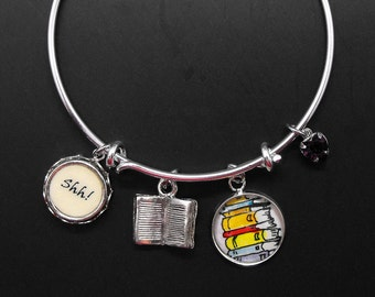 Librarian Bracelet Adjustable Stackable Bangle Library Worker Gift Book Lover Bibliophile Literary Jewelry