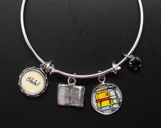 Librarian Adjustable Bangle Charm Bracelet