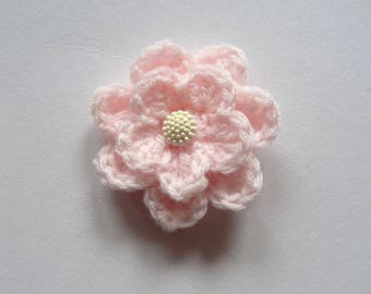Pink crochet flower brooch and button