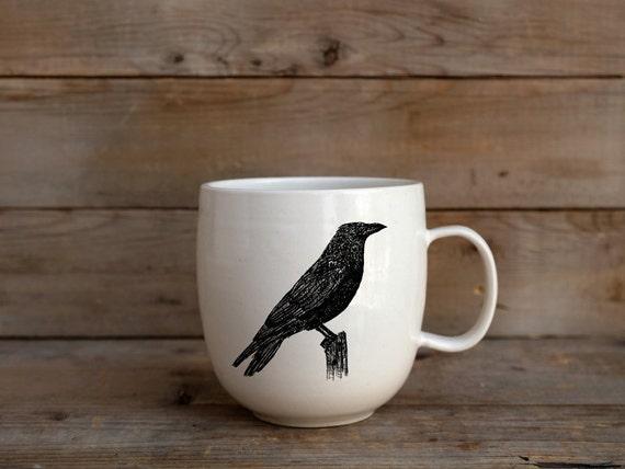 Handmade Porcelain coffee mug with American crow drawing Canadian Wildlife collection