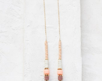 Esmeralda Necklace, collier Bohème Long, collier, pendentif en perles, frange collier, collier, collier Pastel, collier en or