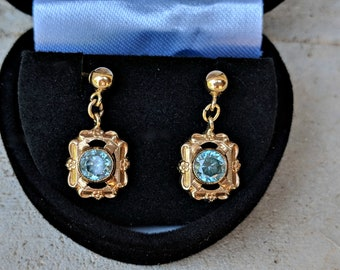 Vintage Antique Art Deco Blue Zircon Dangle Drop Earrings in 14k Yellow Gold