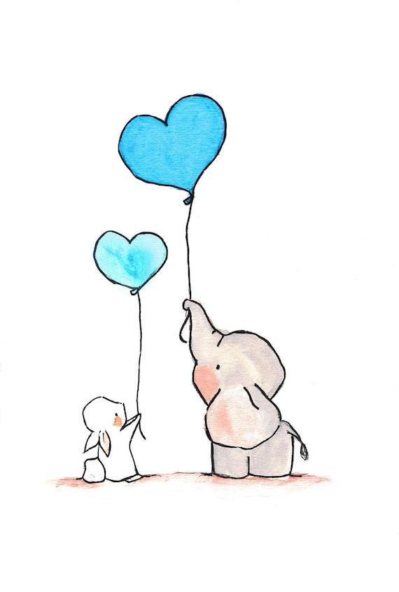 Fliegende Herzen Türkis. Kinderzimmer Elefant Hase