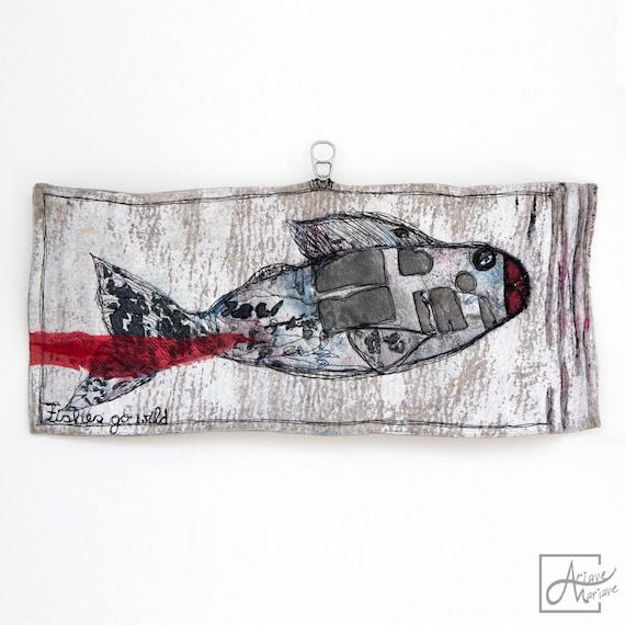 Felt art wall hanging - Original textile art - Felt and free motion embroidery Fish - Unique Fantasy Animal art - Mixed media art Paris made