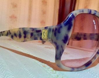 Vintage 70's YSL MOD Blue/White Marble Pattern Sunglasses