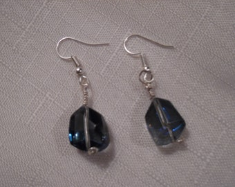 Matching Earrings for Iridescent Blue Glass Beaded Necklace