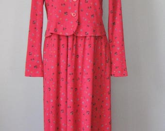 Red Dress and Jacket / Vtg 70s / Victoria Holley Waffle Weave Floral Print Cotton Dress and Jacket
