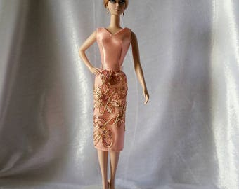 Handmade Silkstone Barbie Doll Dress Silk lace Old Rose.